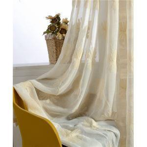 シアーカーテン オーダーカーテン レースカーテン 刺繍 タンポポ柄 和風 オシャレ(1枚)