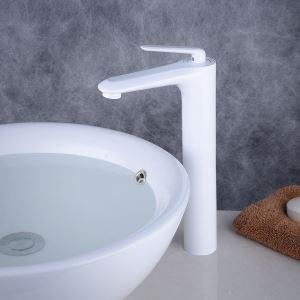 洗面蛇口 バス水栓 冷熱混合栓 立水栓 水道蛇口 水栓金具 白色 H316mm