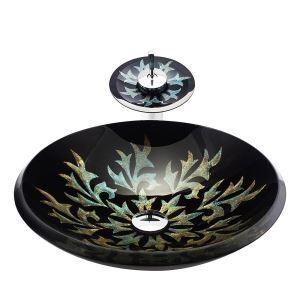 洗面ボウル&蛇口セット 手洗鉢 洗面器 強化ガラス製 排水金具付 オシャレ 角型 BWY17116
