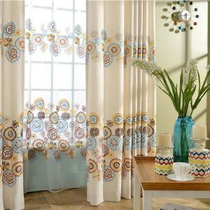 シアーカーテン オーダーカーテン レースカーテン 刺繍 抽象柄 子供屋 オシャレ(1枚)