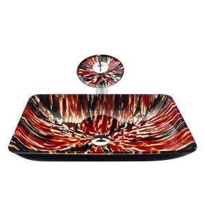洗面ボウル&蛇口セット 手洗鉢 洗面器 強化ガラス製 排水金具付 オシャレ 熔岩柄 角型 BWY19044