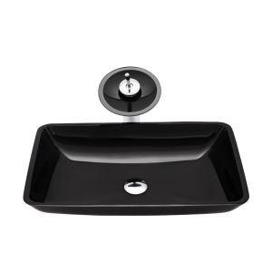 洗面ボウル&蛇口セット 手洗鉢 洗面器 強化ガラス製 排水金具付 オシャレ 黒色 角型 BWY19052