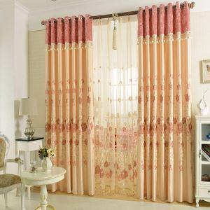 遮光カーテン オーダーカーテン 刺繍 花柄 シルク感 オシャレ 3級遮熱カーテン(1枚)