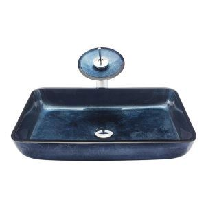 洗面ボウル&蛇口セット 手洗鉢 洗面器 強化ガラス製 排水金具付 オシャレ 角型 BWY19045