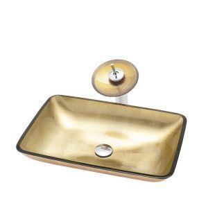 洗面ボウル&蛇口セット 手洗鉢 洗面器 強化ガラス製 排水金具付 オシャレ 角型 BW09018