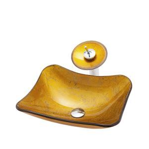 洗面ボウル&蛇口セット 手洗鉢 洗面器 強化ガラス製 排水金具付 オシャレ 船型 角型 BW12212