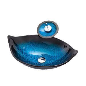 洗面ボウル&蛇口セット 手洗鉢 洗面器 強化ガラス製 排水金具付 オシャレ 葉型 BWY19062