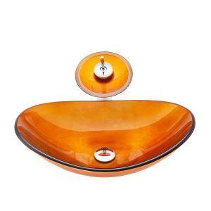 洗面ボウル&蛇口セット 手洗鉢 洗面器 強化ガラス製 排水金具付 オシャレ 元宝型 BWY19063