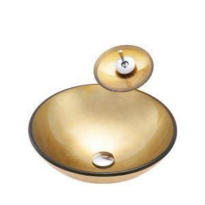 洗面ボウル&蛇口セット 手洗鉢 洗面器 強化ガラス製 排水金具付 オシャレ 丸型 BWY19067