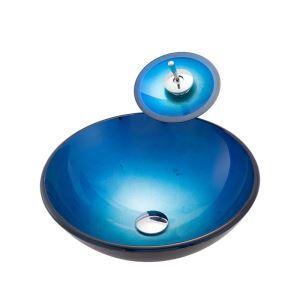 洗面ボウル&蛇口セット 手洗鉢 洗面器 強化ガラス製 排水金具付 オシャレ 丸型 BWY19068