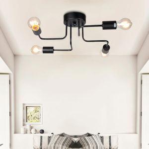 シーリングライト 照明器具 リビング照明 ダイニング照明 天井照明 黒色 北欧風 4灯 LBY18016