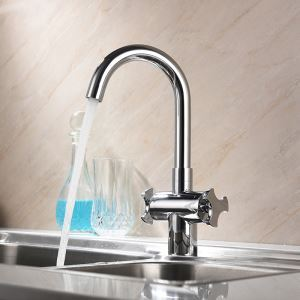 キッチン蛇口 台所蛇口 冷熱混合栓 シンク用水栓 水道蛇口 2ハンドル クロム