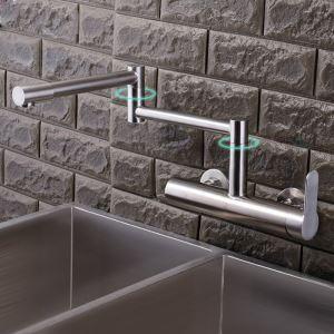 壁付水栓 キッチン蛇口 台所蛇口 冷熱混合栓 水道蛇口 ツーホール 折畳み ヘアライン
