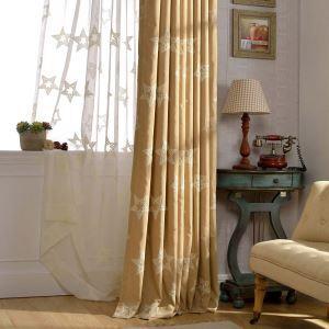 遮光カーテン オーダーカーテン 刺繍 星柄 白色 オシャレ 3級遮熱カーテン(1枚)