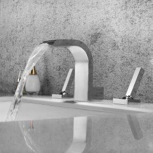洗面蛇口 バス水栓 冷熱混合栓 立水栓 水道蛇口 滝状吐水式 2ハンドル クロム/黒色