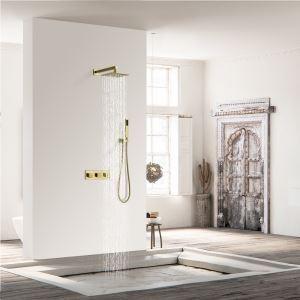 埋込形シャワー水栓 レインシャワーシステム バス水栓 ヘッドシャワー ハンドシャワー 混合栓 金色