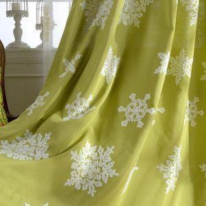 遮光カーテン オーダーカーテン 刺繍 雪花柄 オシャレ 4色 3級遮熱カーテン(1枚)