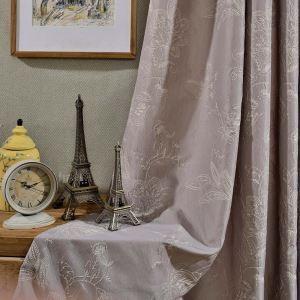 遮光カーテン オーダーカーテン ジャカード 花柄 高密度生地 綿&麻 オシャレ 1級遮熱カーテン(1枚)