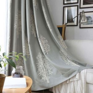 遮光カーテン オーダーカーテン ハコヤナギ柄 リビング 寝室 オシャレ 刺繍 3級遮熱カーテン(1枚)