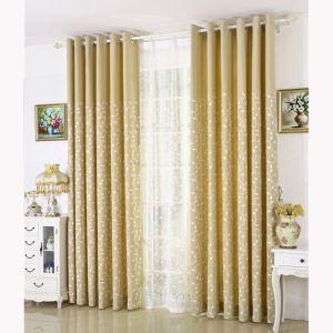遮光カーテン オーダーカーテン 刺繍 葉柄 オシャレ 3級遮熱カーテン(1枚)