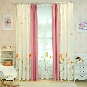 遮光カーテン オーダーカーテン 刺繍 ひまわり柄 子供屋 リビング オシャレ 3級遮熱カーテン(1枚)
