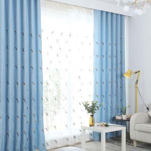 遮光カーテン オーダーカーテン 刺繍 葉柄 リビング オシャレ 3級遮熱カーテン(1枚)