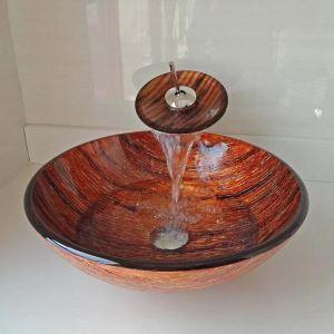 洗面ボウル&蛇口セット 手洗鉢 洗面器 強化ガラス製 排水金具付 オシャレ 丸型 WF6890