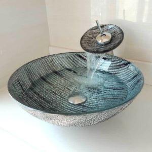 洗面ボウル&蛇口セット 手洗鉢 洗面器 強化ガラス製 排水金具付 オシャレ 丸型 WF6891