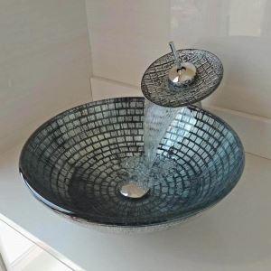 洗面ボウル&蛇口セット 手洗鉢 洗面器 強化ガラス製 排水金具付 オシャレ 格子柄 丸型 WF6894