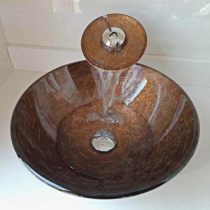 洗面ボウル&蛇口セット 手洗鉢 洗面器 強化ガラス製 排水金具付 オシャレ 丸型 WF6895