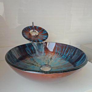 洗面ボウル&蛇口セット 手洗鉢 洗面器 強化ガラス製 排水金具付 オシャレ 丸型 WF6896
