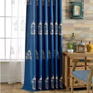 遮光カーテン オーダーカーテン 刺繍 鳥カゴ柄 綿&麻 青色 リビング 子供屋(1枚)