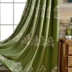 遮光カーテン オーダーカーテン 刺繍 鳥カゴ柄 綿&麻 緑色 リビング 子供屋 3級遮熱カーテン(1枚)