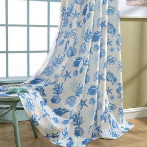 遮光カーテン オーダーカーテン 捺染 海底世界柄 地中海風 子供屋 オシャレ 3級遮熱カーテン(1枚)