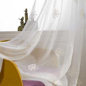 シアーカーテン オーダーカーテン レースカーテン 白色 刺繍 星柄(1枚)