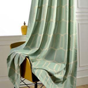 遮光カーテン オーダーカーテン リビング オシャレ 刺繍 綿&麻 ハニカム柄 3級遮熱カーテン(1枚)