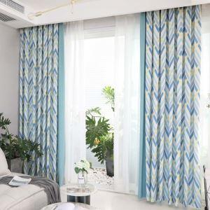 遮光カーテン オーダーカーテン 捺染 幾何柄 スプライス 北欧風 オシャレ 3級遮熱カーテン(1枚)