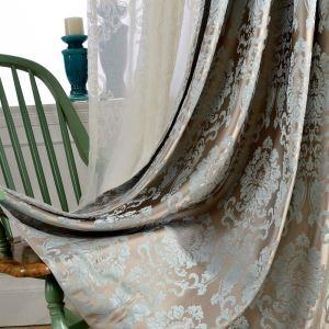 遮光カーテン オーダーカーテン リビング 寝室 高密度生地 ダマスカス柄 ジャカード オシャレ 1級遮熱カーテン(1枚)