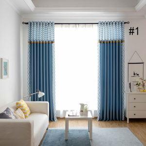 遮光カーテン 既製カーテン 遮熱 防炎 波柄 北欧風 スプライス お得サイズ 3級遮光(2枚)