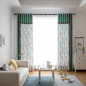 遮光カーテン 既製カーテン 遮熱 防炎 水草柄 北欧風 スプライス お得サイズ 3級遮光(2枚)