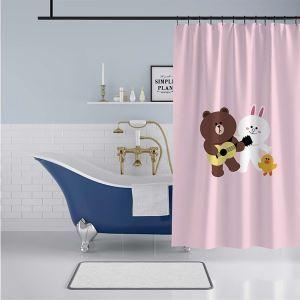 シャワーカーテン バスカーテン 防水防カビ プリント オシャレ 浴室用 リング付 熊柄 3D立体 1枚