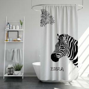 シャワーカーテン バスカーテン 防水防カビ プリント オシャレ 浴室用 リング付 斑馬柄 3D立体 1枚