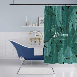 シャワーカーテン バスカーテン 防水防カビ プリント オシャレ 浴室用 リング付 バショウ柄 3D立体 1枚