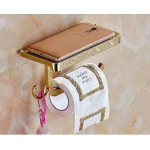 トイレットペーパーホルダー 紙巻器 収納棚付き トイレ用品 真鍮製 携帯電話置き 彫刻工芸