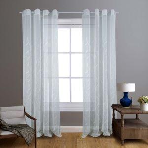 レースカーテン シアーカーテン 既製 刺繍 葉柄 白色 オシャレ お得サイズ(2枚)