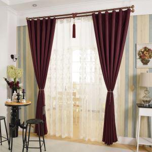 遮光カーテン 既製カーテン 遮熱 防炎 格子 北欧風 ワインレッド お得サイズ 1級遮光(1枚)