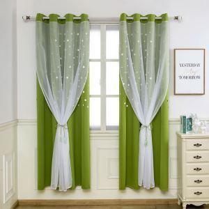 遮光カーテン カーテンレースセット シアーカーテン付 透かし彫り 星  既製 遮熱 防炎 オシャレ 緑色 お得サイズ 1級遮光(1枚)