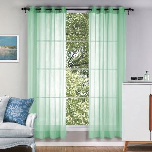 レースカーテン シアーカーテン 既製 緑色 純色 オシャレ 5色 お得サイズ(2枚)