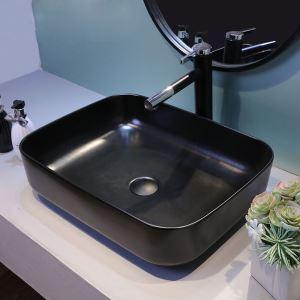 洗面ボール 手洗い鉢 洗面器 洗面ボウル 陶器 角型 黒色 排水栓&排水トラップ付 51cm 和風