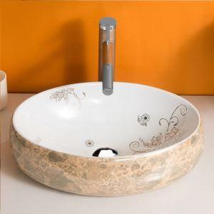 手洗い鉢 洗面ボウル 手洗器 洗面ボール 陶器 大理石風合い 排水栓&排水トラップ付 48cm